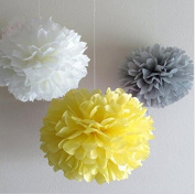 Since ® 12 Mixed White Grey Yellow Party Tissue Pompoms Paper Flower Pom Poms Wedding Birthday Party Christmas Girls Room Decoration