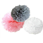 Since ® 12 Mixed White Grey Pink Party Tissue Pompoms Paper Flower Pom Poms Wedding Birthday Party Christmas Girls Room Decoration