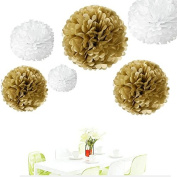 Since ® 12PCS Mixed Sizes Gold & White Party Tissue Pom Poms Wedding Pompoms Reception Anniversary Birthday Party Decoration