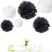 Since ® 12pcs 20cm 25cm 36cm Tissue Paper Pom-poms White and Black Outdoor Decoration Tissue Paper Pom Poms Party Balls Wedding Christmas Xmas Decoration