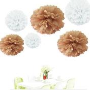 Since ® 12pcs 20cm 25cm 36cm Tissue Paper Pom-poms White Tan Outdoor Decoration Tissue Paper Pom Poms Party Balls Wedding Christmas Xmas Decoration