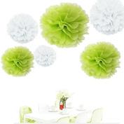 Since ® 12pcs 20cm 25cm 36cm Tissue Paper Pom-poms White Lime green Outdoor Decoration Tissue Paper Pom Poms Party Balls Wedding Christmas Xmas Decoration