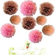 Since ® 18pcs 20cm 25cm 36cm Tissue Paper Pom-poms Pink Peach Coffee Outdoor Decoration Tissue Paper Pom Poms Party Balls Wedding Christmas Xmas Decoration