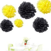 Since ® 12pcs 20cm 25cm 36cm Tissue Paper Pom-poms Yellow Black Outdoor Decoration Tissue Paper Pom Poms Party Balls Wedding Christmas Xmas Decoration