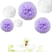 Since ® 12pcs 20cm 25cm 36cm Tissue Paper Pom-poms White Lavender Outdoor Decoration Tissue Paper Pom Poms Party Balls Wedding Christmas Xmas Decoration