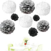 Since ® 18pcs 20cm 25cm 36cm Tissue Paper Pom-poms White Grey Black Outdoor Decoration Tissue Paper Pom Poms Party Balls Wedding Christmas Xmas Decoration