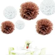 Since ® 12pcs 20cm 25cm 36cm Tissue Paper Pom-poms White Coffee Outdoor Decoration Tissue Paper Pom Poms Party Balls Wedding Christmas Xmas Decoration