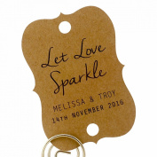 Summer-Ray.com 48 Personalised Kraft Little Violin Wedding Sparklers Tags Let Love Sparkle