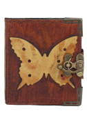 Butterfly Decoration Refillable Leather Journal / Diary / Lock / Brown Vintage Style / Notebook / Plain Paper Pocket Book Women Men Children Office Work