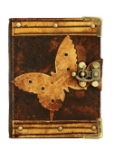 Butterfly Decoration on a Brown Refillable Leather Journal / Notebook / Dairy / Sketchbook / Handmade / Lock / Book / Office / Work / Plain Paper