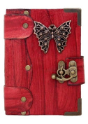 Butterfly Pendant on a Red Leather Journal Notebook Daily Diary Sketchbook Pad Handmade Pocket Book Women Men Boys Girls Office Ladies Writing Drawing