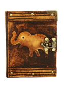 Elephant Decoration on a Brown Refillable Leather Journal / Notebook / Dairy / Sketchbook / Handmade / Lock / Book / Office / Work / Plain Paper