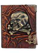 Skull And Bones Sculpture Refillable Leather Journal / Diary / Lock / Brown Vintage Style / Notebook / Plain Paper Pocket Book Women Men Children Office Work