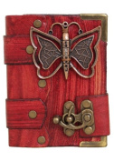 3D Butterfly Pendant on a Red Leather Journal Notebook Daily Diary Sketchbook Pad Handmade Pocket Book Women Men Boys Girls Office Ladies Writing Drawing