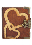 Double Heart Decoration Refillable Leather Journal / Diary / Lock / Brown Vintage Style / Notebook / Plain Paper Pocket Book Women Men Children Office Work