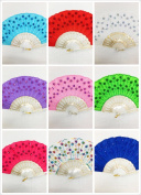 12 PCS LOT wedding Peacock Shining Sequins Hand Fan with organza gift bag/wedding party favour/baby shower/