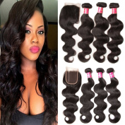 Jolia Hair Unprocessed Raw Virgin Brazilian Wavy Hair 3 Bundles with 1 Piece Free Part Lace Closure