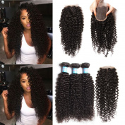 Longqi Hair Brazilian Curly Virgin Hair with Closure Free Part 16 18 20+25cm Unprocessed Virgin Human Hair Weave 3 Bundles with 1 Piece Lace Closure 10cm x 10cm Natural Colour