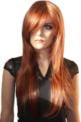 PRETTY Fashion Lady Wig Long Hair Cosplay Curled Wavy (COPPER BROWN) Heat-Resistant