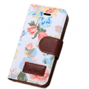 Fullkang 1PC Magnetic Wallet Floral Jacquard Leather Cover Case for iPhone 5C