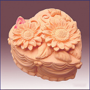 Heart Shape Sunflower Cake - 3d Soap/candle/polymer/clay/cold Porcelain Silicone Mould