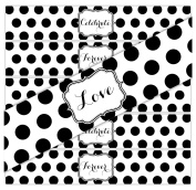 24 Large Dots WATERPROOF Water Bottle Stickers | CELEBRATE, LOVE, FOREVER | 8 of each phrase