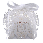 Weksi 50pcs 3D White Butterfly Hollow Out Wedding Candy Gift Box with Ribbon