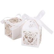 Weksi 50pcs 3D White Love Heart Flower Hollow Out Wedding Candy Gift Box with Ribbon