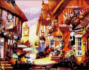 Diy oil painting, paint by number kit - The ancient town 16*50cm .