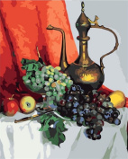 Diy oil painting, paint by number kit - Crystal grape Still Life and teapot 16*50cm .
