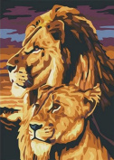 Diy oil painting, paint by number kit - Two Lions 16*50cm .