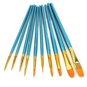 10x Round Pointed Flat Tip Nylon Hair Acrylic Watercolour Multifunctional Artist Paint Brush Set Blue