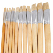 TRIXES Long Artists Paint Brushes Wooden Handles 12 Packs Large & Small Tip