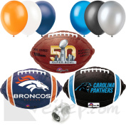 Broncos Panthers Super Bowl Face Off Football Party 10pc Balloon Pack