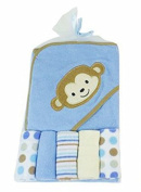Regent Baby Crib Mates Hooded Towel with 5 Wash Cloths, Blue Monkey/Pink