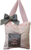 Caught Ya Lookin' Tooth Fairy Pillow, Pink Damask Minky, White, Grey
