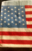 Embroidered Applique USA Flag 30 by 30 Blue Baby Fleece Blanket