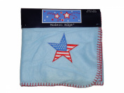 Embroidered Applique American Star 30 by 30 Blue Baby Fleece Blanket