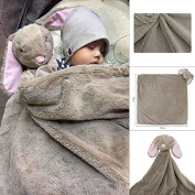 Baby Ultra Soft Velvet Cute Cartoon Animal Shapes Rabbit Cartoon Blankets 0-3 Years 80cm