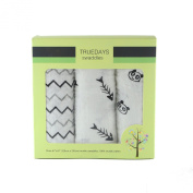 Muslin Baby Swaddle Blanket 3 Pack-Truedays 120cm X 120cm Large Muslin Swaddle Best Solf Unisex for Boys or Girls Perfect for Nursery Sets-3 Beautiful Design