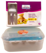 Baby Bottle Travel Microwave Steriliser with 3 Super Wide Neck Feeding Bottles
