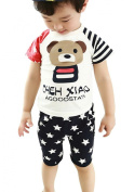 Wxian Summer Children's Short-Sleeved Suits Two Pieces 0-4 Years