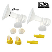 24 mm Medium Flagne w/ Valve and Membrane for SpeCtra Breast Pumps S1, S2, M1, Spectra 9; Narrow (Standard) Bottle Neck; Made by Maymom