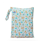 Babyfriend Wet/Dry Nappy Bag, Zipper Pockets with Snap Handle, Washable & Waterproof