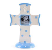 Ceramic Stoneware Standing Blue Polka Dot Picture Frame Cross