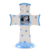 Ceramic Stoneware Standing Blue Polka Dot Picture Frame Cross