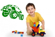 Monster Truck Sticker mural pour enfant, vert, Large