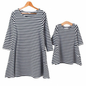 Ibeauti Black & White Striped Dress with Pockets, Mom and Baby Matching Dresses