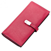 Esdrem Women's Leather Bifold Credit Card Holder Wallet Slim Long Clutch Purse with Zipper Pocket Credit Card Case Wallet