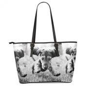 Custom Dachshund Puppy Dog Tote Bag Leather Handle Bag Handbag for Women